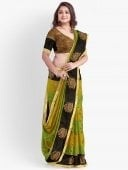 Green and Yellow Raw Silk Woven Saree with Contrast Border and Pallu