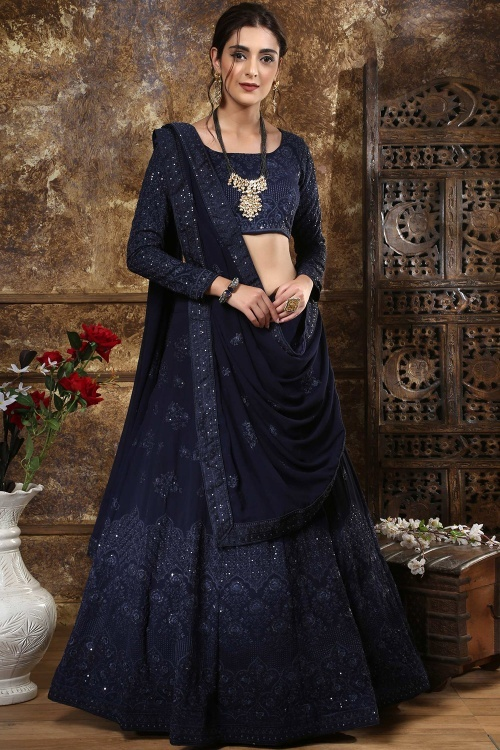 Navy Blue Georgette Lehenga Choli with Embroidery