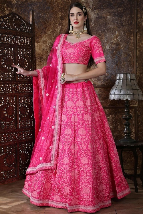 Pink Silk Lehenga Choli with Floral Embroidery