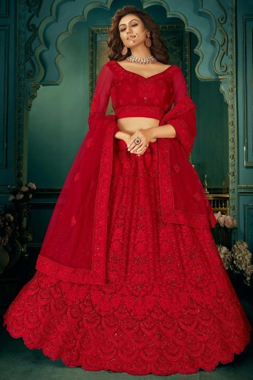 Red Net Embroidered Lehenga with Stone Work