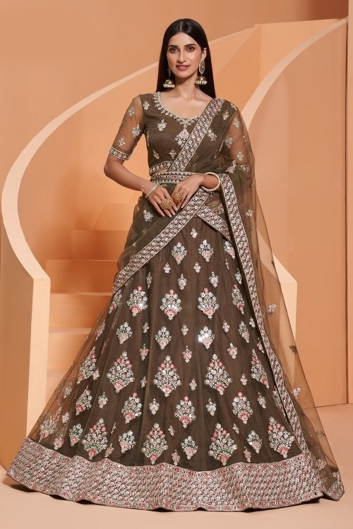 Olive Green Net Lehenga with Embroidery