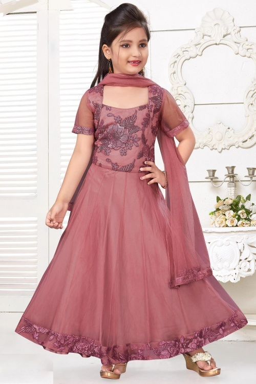 Mauve Imported Embroidered Anarkali Suit