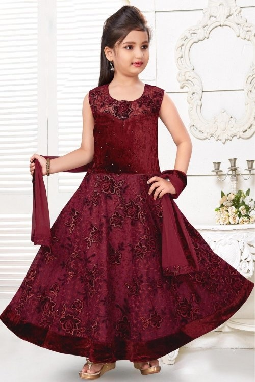 Maroon Imported Anarkali Suit with Floral Embroidery