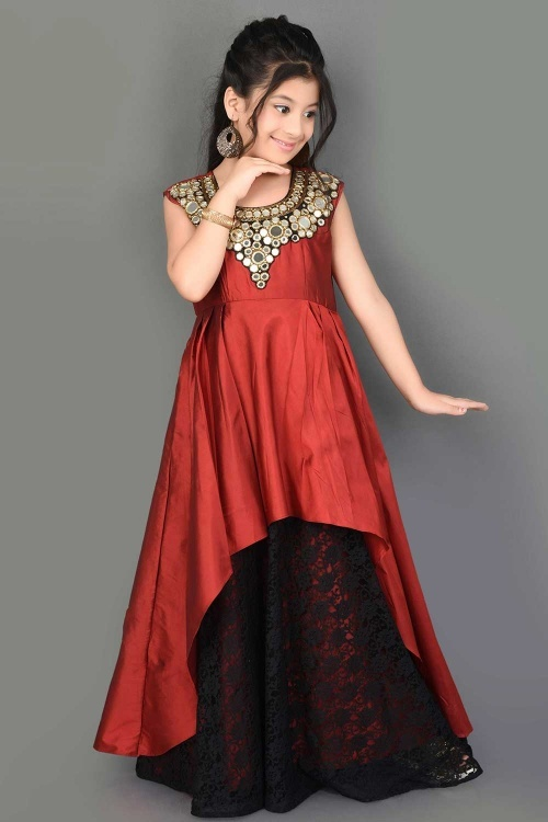 Red Taffeta Gown with Mirror Work