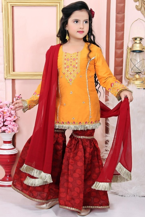 Yellow Cotton Silk Straight Cut Embroidered Sharara Suit