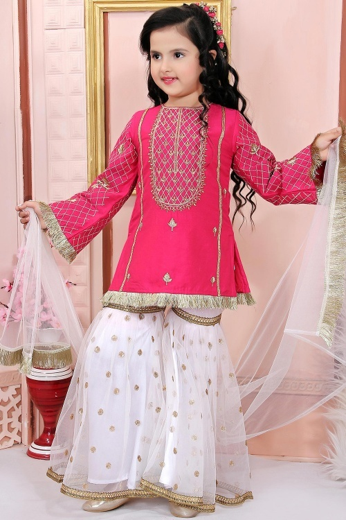 Pink Cotton Silk Straight Cut Sharara Suit with Embroidery