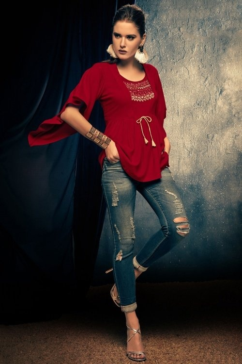 Maroon Rayon Pleated Tunic with Cape Sleeves