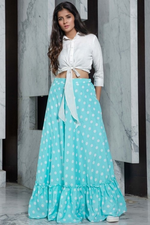 Off White Rayon Shirt Style Crop Top with Polka Dots Print Skirt