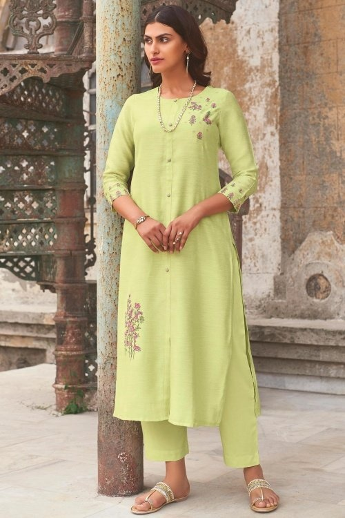 Parrot Green Cotton Silk Embroidered Butta Kurti with Pant
