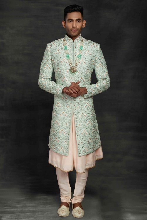 Light Blue and Peach Imported All Over Floral Embroidered Sherwani