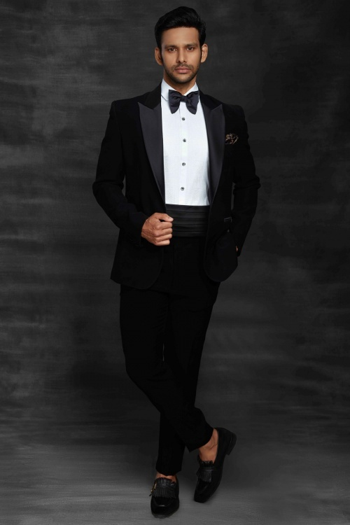 Black Imported Suit with Bow Tie
