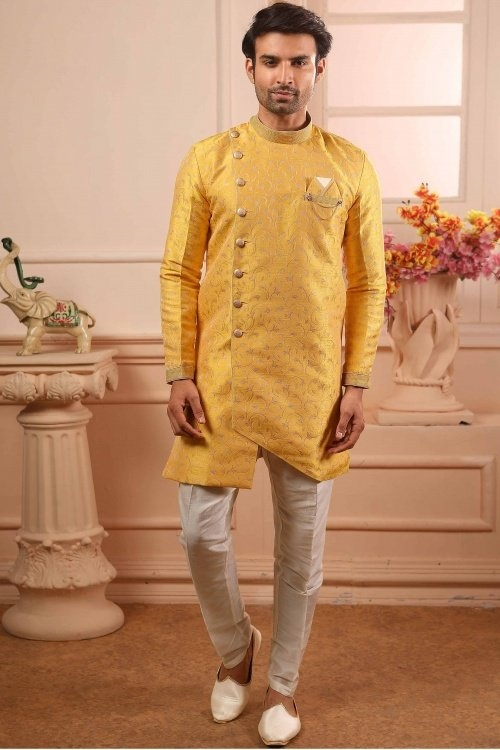 Yellow Jacquard Art Silk Indo Western with Pant