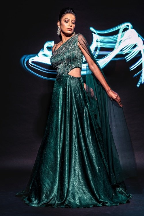Green Satin Party Wear Gown with Attached Dupatta