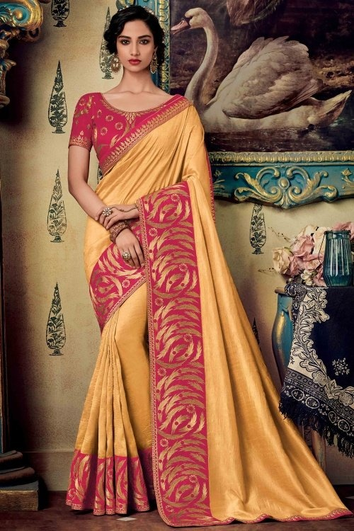 Pale Yellow Silk Plain Saree with Contrast Embroidered Border