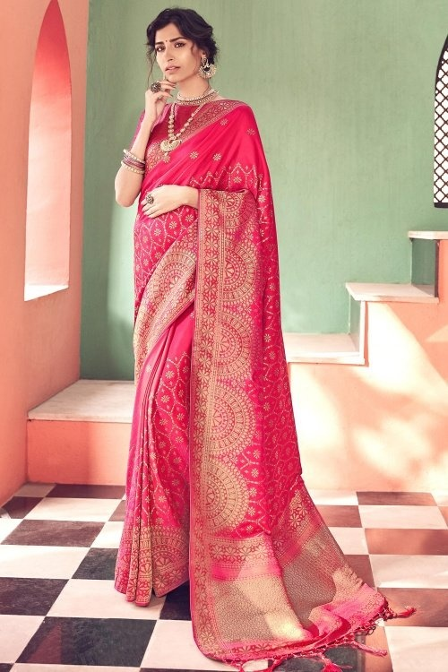 Rani Pink Banarasi Silk Traditional Woven Saree with Golden Touch and Double Blouse