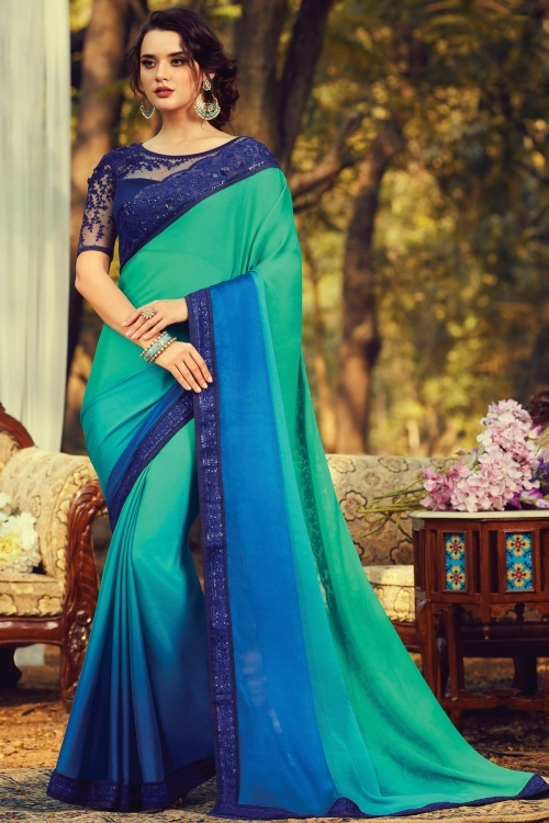 Green and Blue Shaded Georgette Plain Saree with Embroidered Border
