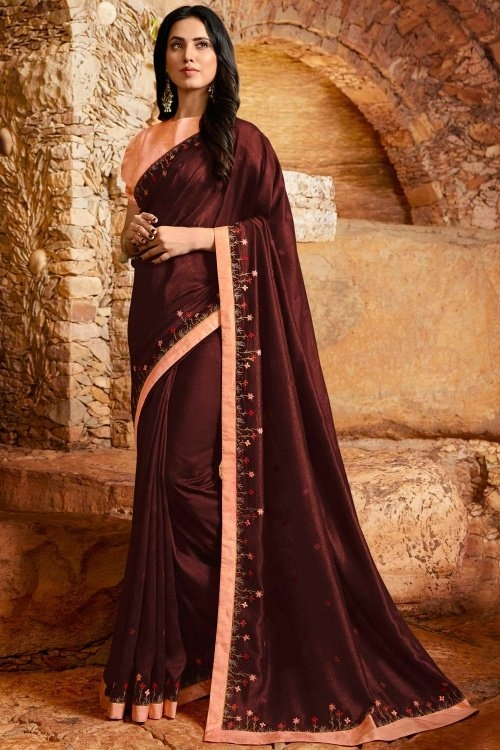 Brown Georgette Silk Saree with Embroidery