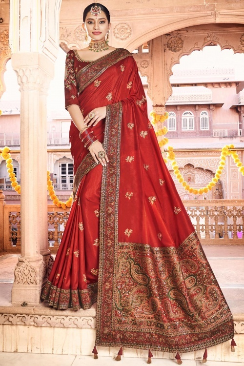 Red Silk Saree with Multi Colored Woven Border and Paisley Motifs Pallu