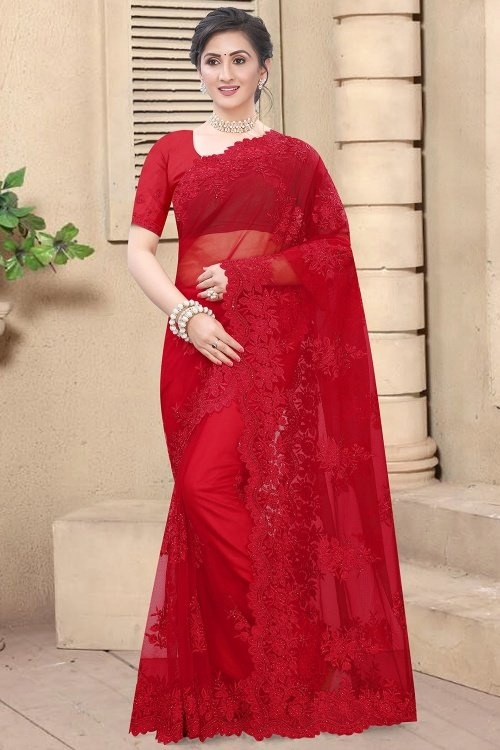Red Net Embroidered Saree with Cutworked Border