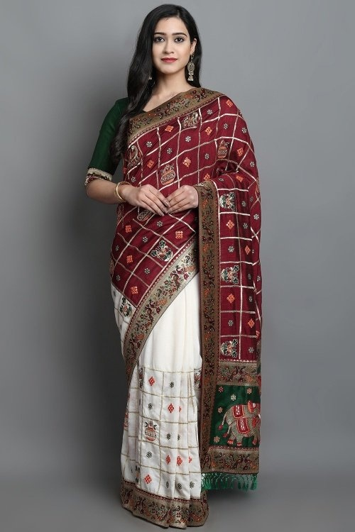 Maroon and Off White Art Silk Half and Half Bridal Saree with Peacock and Barat Inspired Motifs