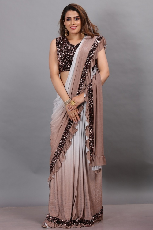 Grey and Light Brown Imported Lycra Saree