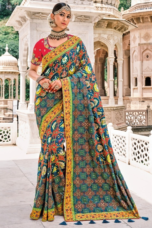 Teal Blue and Red Silk Traditional Saree