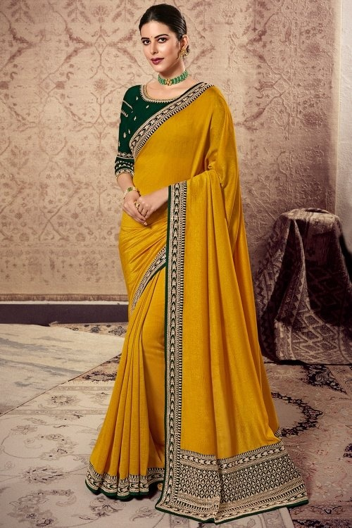 Yellow Art Silk Saree with Embroidery