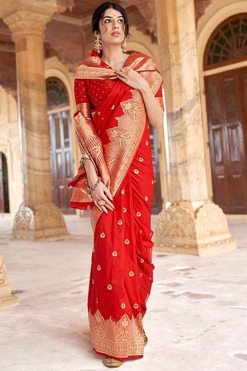 Red Art Silk Traditional Woven Saree