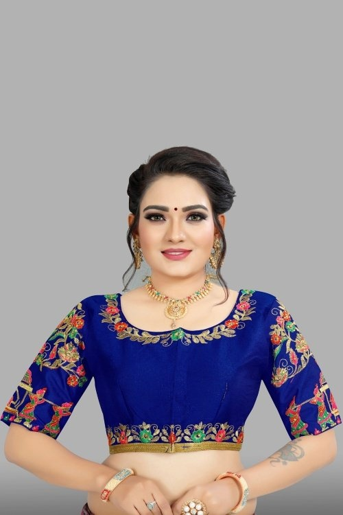 Blue Art Silk Embroidered Blouse with Barat Inspired Motifs Sleeves