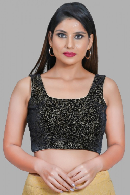 Black Art Silk Blouse with Embroidery
