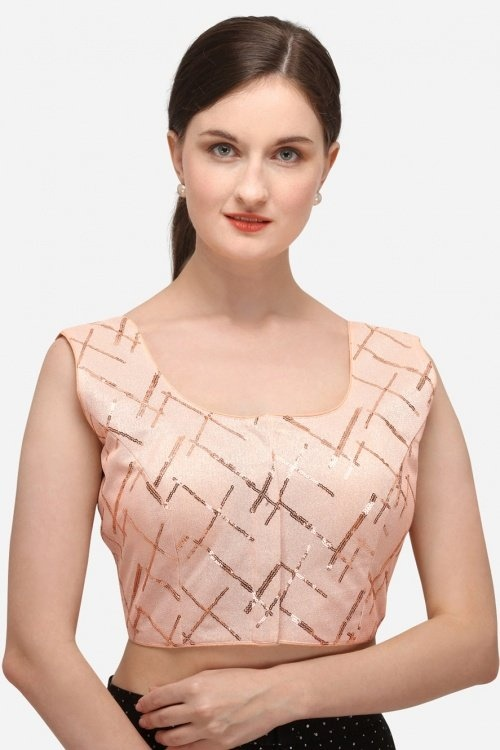 Light Peach Cotton Sequins Worked Blouse