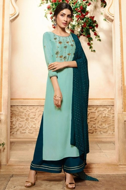 Powder Blue Viscose Embroidered Straight Cut Palazzo Suit
