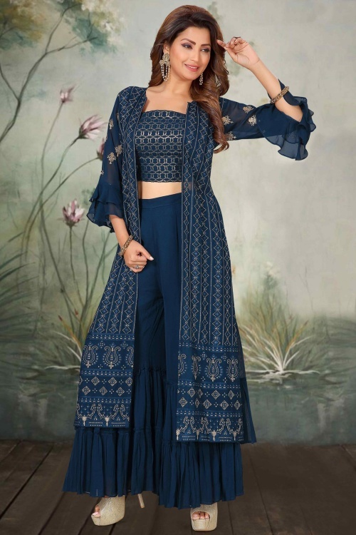 Prussian Blue Georgette Indo Western Sharara Suit with Sequins Worked Long Jacket