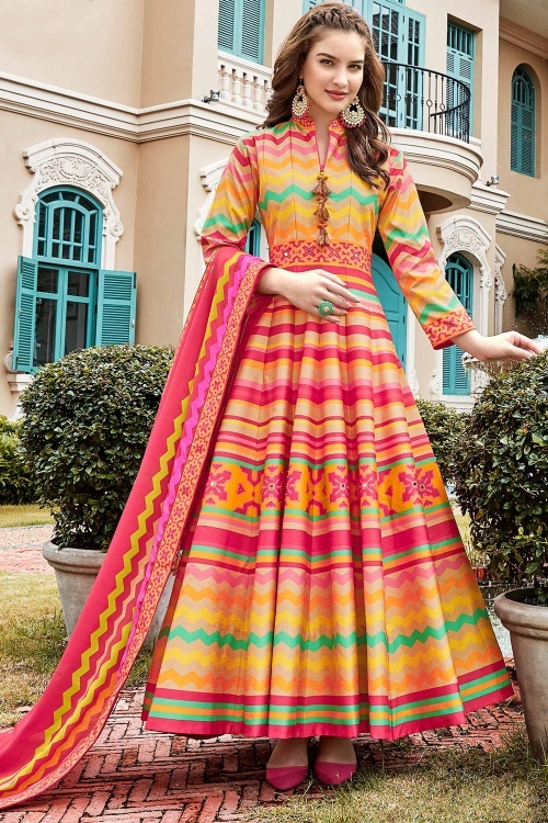 Beige and Multi Colored Silk Traditional Zigzag Print Anarkali Suit