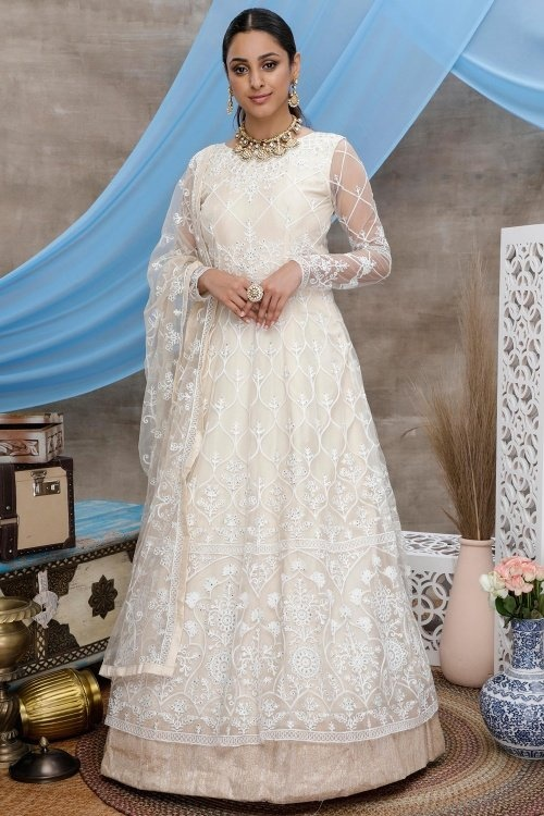 Off White Net Anarkali Suit with Thread Embroidery