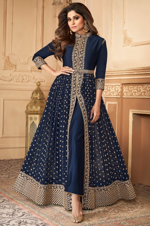 Shamita Shetty Navy Blue Georgette Designer Slit Cut Suit with Embroidery