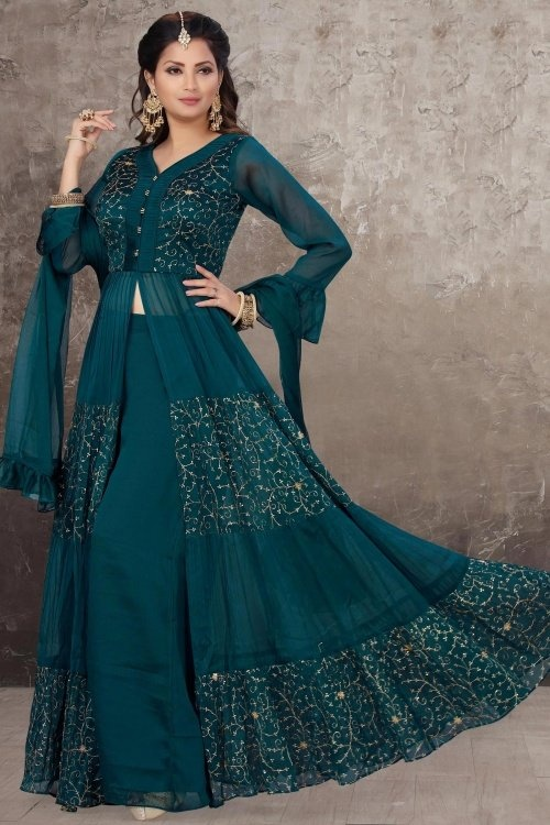 Teal Blue Chinon Open Front Slit Cut Palazzo Suit with Embroidery