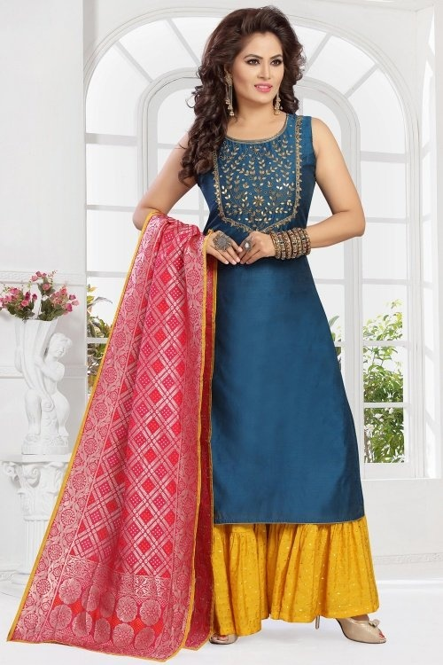 Prussian Blue Chanderi Havdworked Palazzo Suit