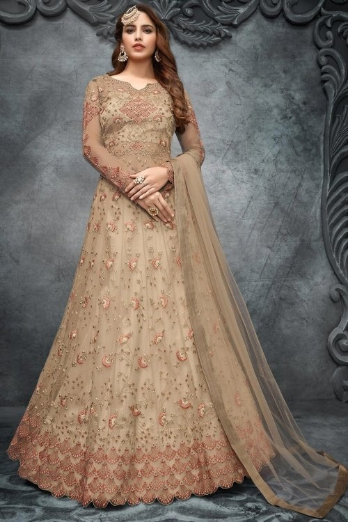 Taupe Net Designer Anarkali Lehenga Suit with Contrast Embroidery Work
