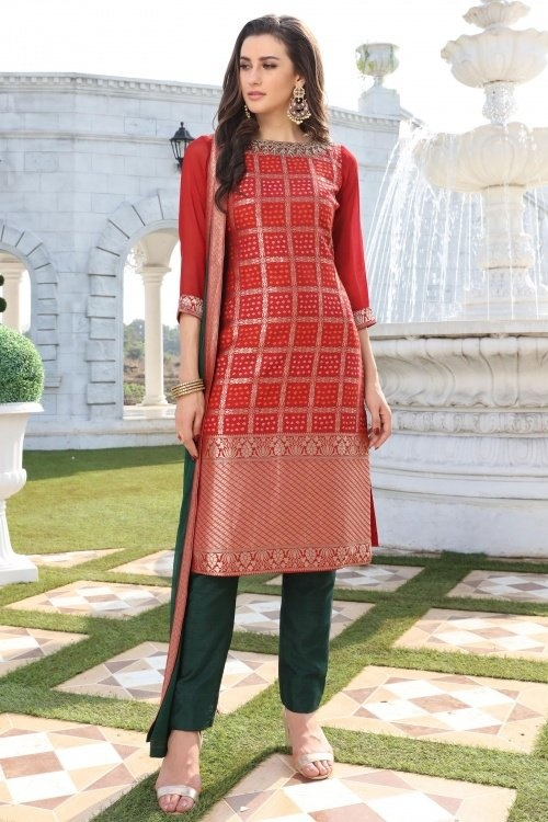 Red Silk Traditional Checks Bandhej Woven Straight Cut Suit