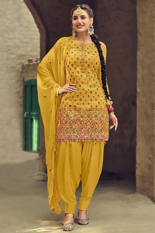 Mustard Georgette Embroidered Patiala Suit
