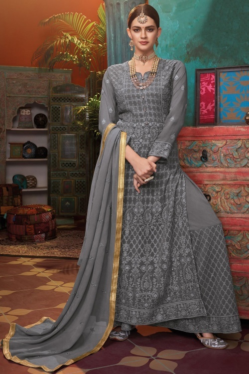 Grey Georgette Thread Embroidered Suit