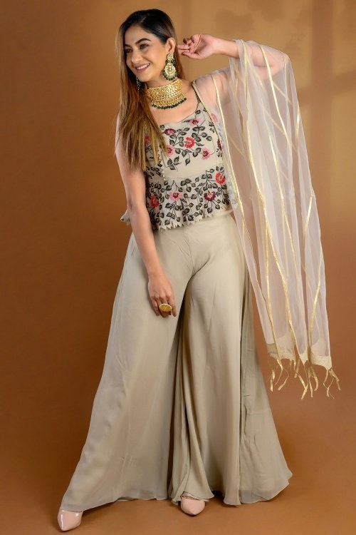 Taupe Georgette Crop Top Palazzo Suit
