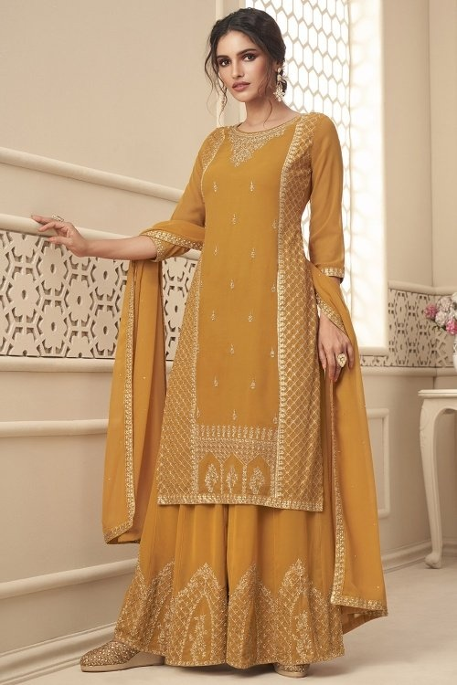 Mustard Georgette Palazzo Suit