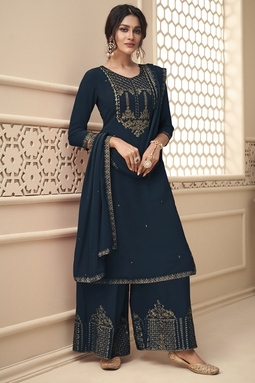 Dark Blue Georgette Suit with Embroidery
