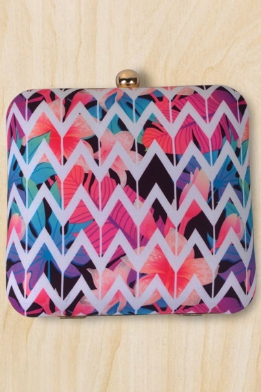 Multi Colored Imported Box Clutch with Zigzag Print