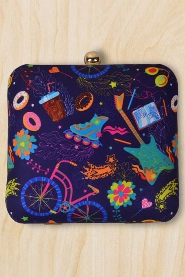 Navy Blue Imported Clutch with Multi Colored Print