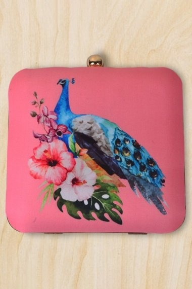Dusty Pink Imported Printed Clutch with Peacock Motif