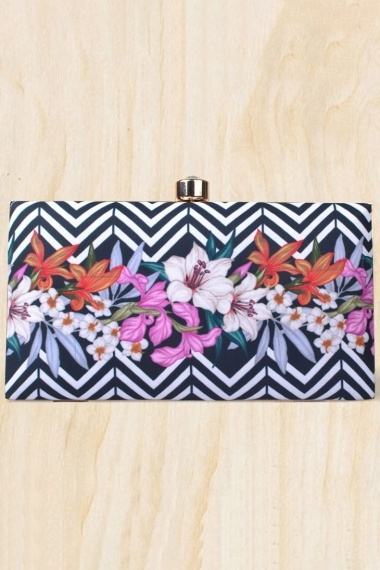 Black Imported Box Clutch with Floral Motif