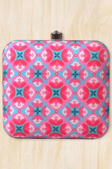 Blue and Pink Imported Printed Box Clutch